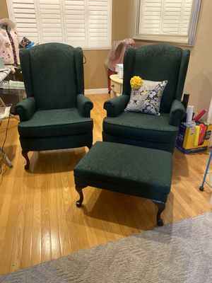 Wing chairs with ottoman for Sale in Norco, CA