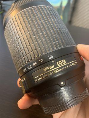Nikon 55-200mm Zoom Lens f/4-5.6G AF-S (w/ Vibration Reduction) Nikkor for Sale in Daly City, CA