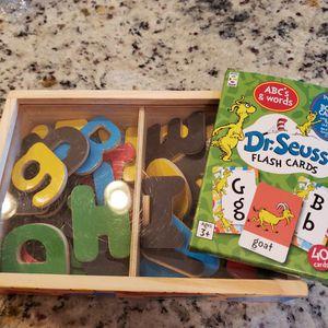 Melissa & Doug Letter Magnets Plus Dr. Seuss Flash Cards for Sale in Boise, ID