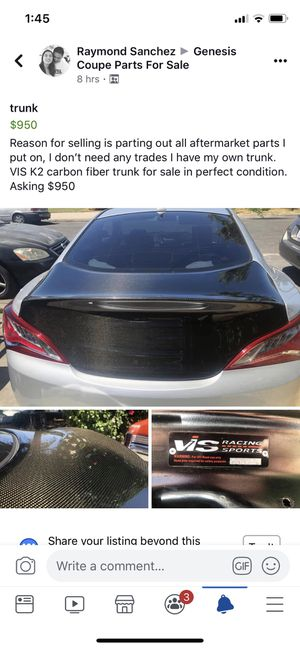 VIS K2 carbon fiber trunk for Hyundai Genesis Coupe for Sale in Irwindale, CA