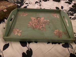 Vintage tray with glass for Sale in Covina, CA