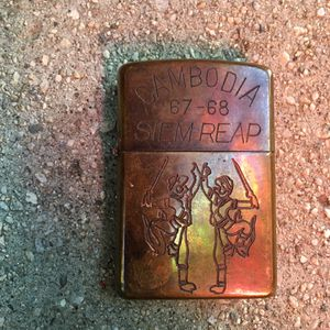 """Reproduction Zippo Lighter. Says """"Cambodia. 67-68 Siem Reap."""" for Sale in Los Angeles, CA"""