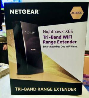 NETGEAR - Nighthawk Mesh X6S Tri-Band WiFi Mesh Extender, Seamless Roaming, One WiFi Name, Works with any WiFi Router (EX8000) - Black for Sale in Cleveland, OH