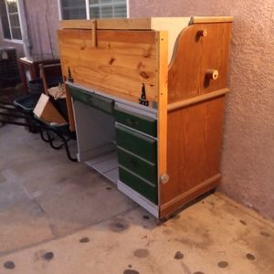 Unique Storage Desk/Unit W/Counter-balanced Door (Converts To Workspace Table) for Sale in Huntington Beach, CA