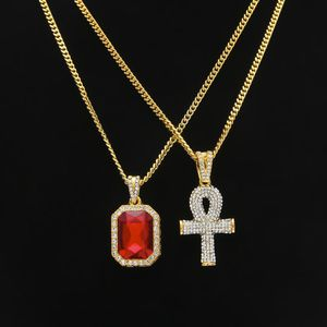 Gold plated chain set with ruby pendant and Egyptian Ankh key for Sale in Dallas, TX