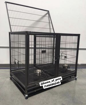 """Dog pet cage kennel size 43"""" with divider trays wheels and feeding bowls new in box 📦 for Sale in Norco, CA"""