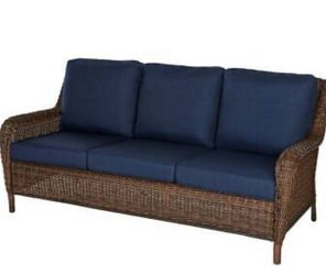Brown Wicker Outdoor Couch w/Blue Cushions All-Weather Resin, 700 lb Capacity for Sale in Canton,  MI