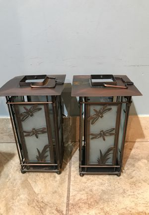 Pair of Metal (Copper?) Dragonfly Candle Holders Lanterns for Sale in Miami, FL