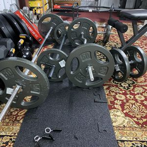 Standard One Inch Home Gym Sets Barbell Curl Bar Dumbbell Handles Cast Iron Plates for Sale in Houston, TX