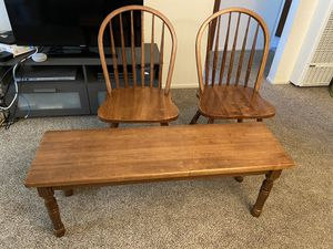 2 brown wooden chairs and a bench for Sale in Castro Valley, CA