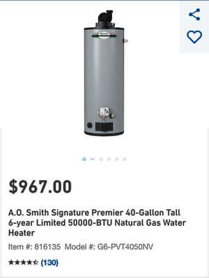 A.O. Smith Signature Premier 40-Gallon Tall 6-year Limited 50000-BTU Natural Gas Water Heater for Sale in St. Louis, MO
