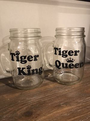Tiger King and Tiger Queen Mason Jars single or set for Sale in Miami, FL