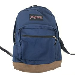 Jansport Backpack Navy Blue Suede Leather Bottom School Travel 18 x 16 x 8 inch for Sale in Mundelein,  IL