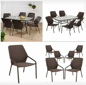 Outdoor Patio Wicker Dining Chairs Brown Furniture 6 Piece Pool Garden Deck for Sale in Brooklyn, NY