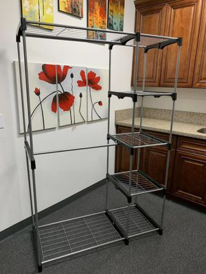 New in box wardrobe clothes shoes closet organizer hanging stand rack storage organizer 46x20x70 inches for Sale in Montebello, CA