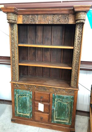 Carved primitive style cabinet hutch storage shelf for Sale in Taylor, TX