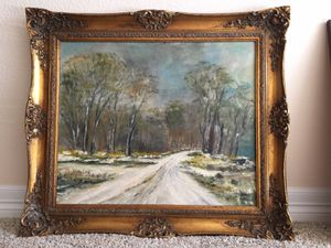 Framed Winter Scenery Oil Painting for Sale in Colorado Springs, CO