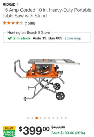 """ridgid 10"""" portable table saw with stand for Sale in Westminster, CA"""