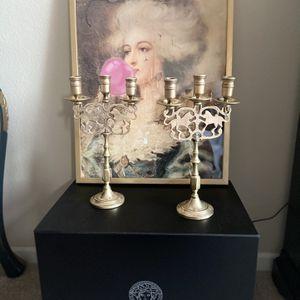 Brass Antique Lion Candelabras . for Sale in Calabasas, CA