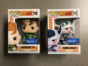 Dragonball Z Funko Pop Set King Cold Android 16 Metallic Walmart Exclusives 708 711 with protectors for Sale in Carrollton, TX