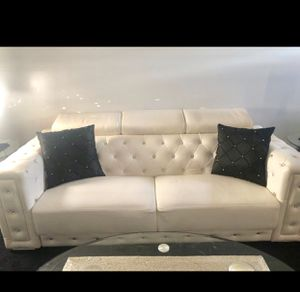 Sofa couch white leather with rhinestones for Sale in Feasterville-Trevose, PA
