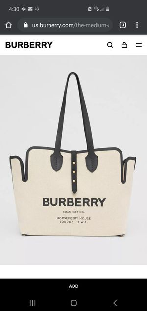 Burberry Designer Medium Soft Cotton Canvas Belt Tote Bag NEW WITH TAGS for Sale in Downey, CA