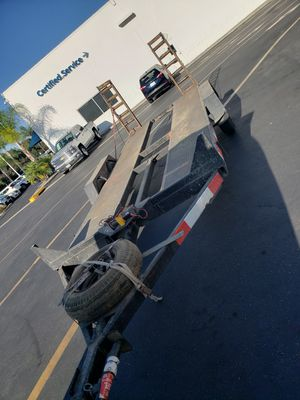 17ft flatbed tilt trailer title in hand PTI plates. for Sale in Menifee, CA