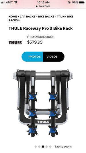 Thule racepro 3 bike rack - trunk for Sale in Denver, CO