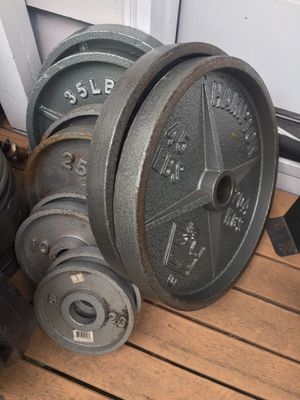 Olympic weights - Olympic bar - home gym equipment for Sale in Mercer Island, WA