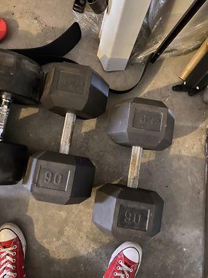 Cap 90lbs dumbbells for Sale in Lathrop, CA