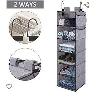 6-Shelf Hanging Closet Organizer, Fabric, Gray for Sale in Pico Rivera, CA