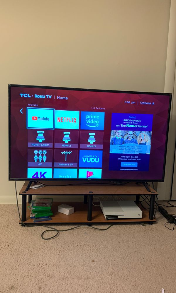 "TCL 55"" 4k Smart tv with table"