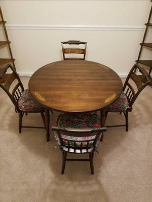 Antique Genuine L. Hitchcock 5 pc Dining Set With Plank Chairs for Sale in Vienna, VA