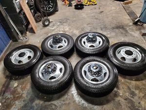 6 Brand New wheels, tires, caps and lugs from a 2020 Chevy Silverado 3500 for Sale in Bremerton, WA