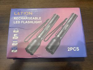 LETION Led Flashlight Rechargeable,Camping Flashlight High Lumens 1500 IPX4 Waterproof 5 Light Modes for Camping Fishing Bicyle,18650 Battery and Cha for Sale in Winter Garden, FL