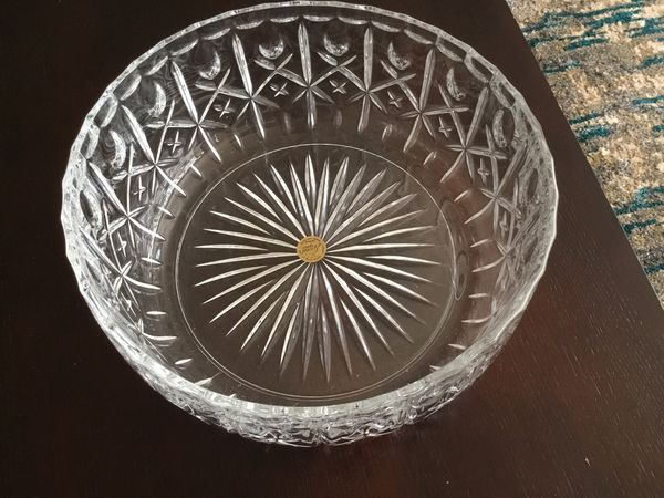 Lead Crystal Bowl, made in France, 10 inches high by 14 inches wide, never used.