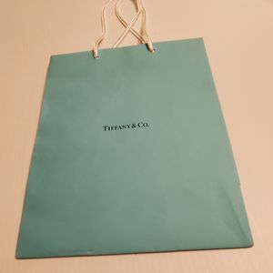 "Tiffany & Co paper gift bag. Teal 9.75x8x4"". Very good shape. Lot 5 for Sale in Saratoga, CA"