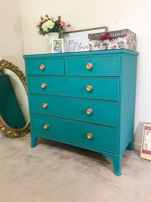 Real wood accent dresser with glass on top for Sale in Purcellville, VA