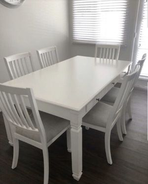 6pcs dining table set white solid wood for Sale in Norwalk, CA
