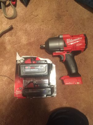 Milwaukee fuel one key model 2863-20 impact wrench and m18 6.0 and 3.0 batteries for Sale in Silver Spring, MD