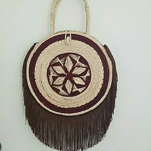 Handwoven Palm Leaf Handbag from South America with Fringe for Sale in Dania Beach, FL