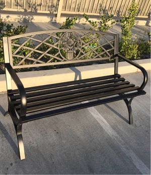 New in box $70 each 500 lbs weight capacity 50x24x34 inches tall outdoor patio garden steel bench chair banco al aire libre for Sale in Covina, CA