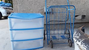 Plastic drawer and blue wagon for Sale in Moreno Valley, CA