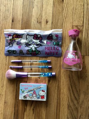 Hello Kitty collection: makeup brushes, poker cards, and glass bottle for Sale in Los Angeles, CA