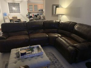 Macy's sectional leather couch with end recliners for Sale in Boynton Beach, FL