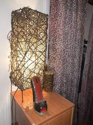 Animal leopard cheetah print Lamp, candle, and coin bank decor set for Sale in Columbus, OH