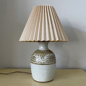 Pottery base table lamp with shade for Sale in Brooklyn Park, MN
