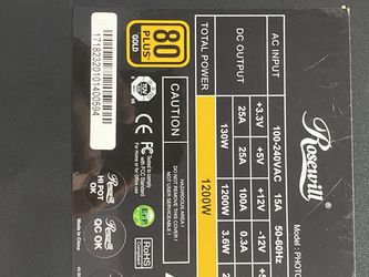 Rosewill Photon 1200w PSU 80 Plus Gold for Sale in Corinth,  TX