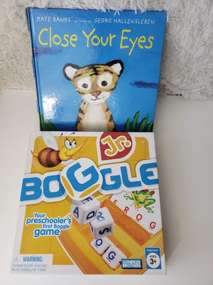 Jr Boggle game and Close your eyes book for Sale in Orlando, FL