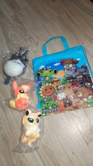 """New Christmas BOYS Gift bag with 2 pokemon stuffed animals + 10"""" Totoro toothbrush holder for Sale in Manchester, NH"""